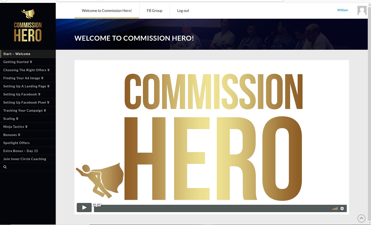 inside commission hero members area