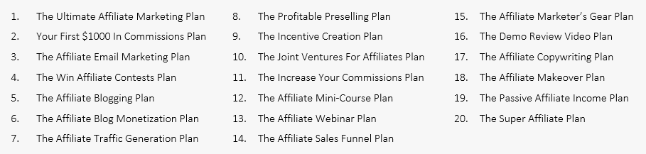 Elite Affiliate Pro Bonus Affiliate Action Plans