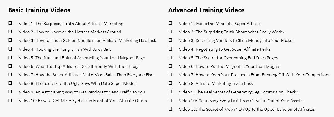 elite affiliate pro - affiliate samurai training videos
