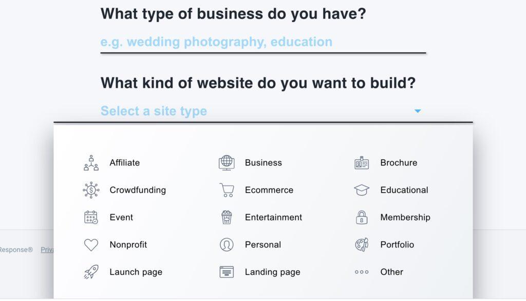 getresponse website builder AI wizard