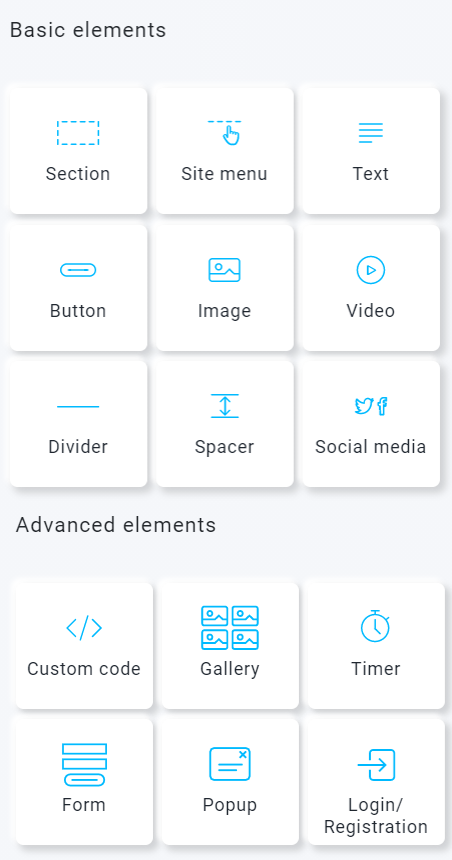 getresponse website builder elements