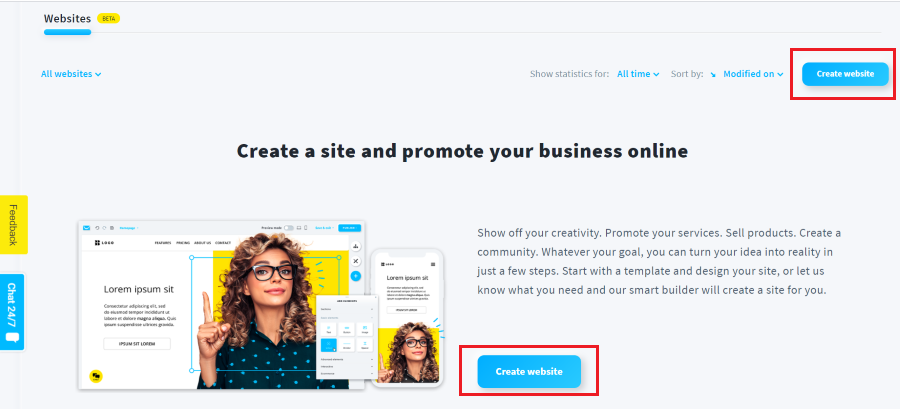 getresponse website builder create website