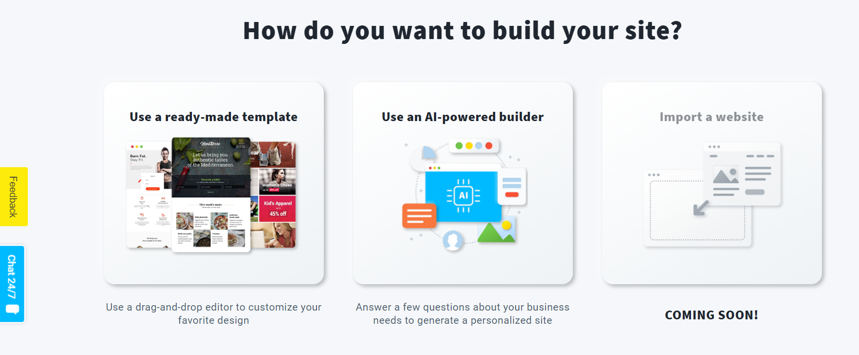 getresponse website builder options